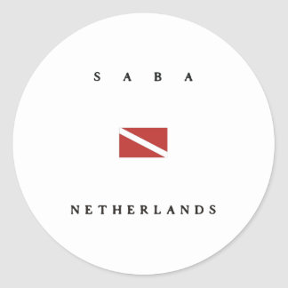 Saba Netherlands Scuba Dive Flag Classic Round Sticker