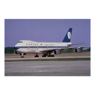 Sabena 747 on runway, Mirabel Airport, Montreal, C Poster