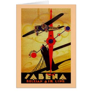 Sabena Art Deco Compass Greeting Card