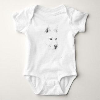 Saber A Siberian Husky Drawing Art Blue Eyes Baby Bodysuit