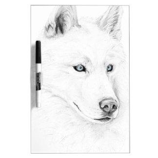 Saber A Siberian Husky Drawing Art Blue Eyes Dry-Erase Whiteboard