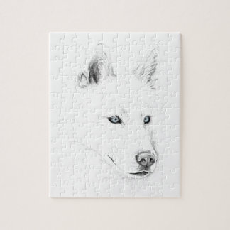 Saber A Siberian Husky Drawing Art Blue Eyes Jigsaw Puzzle