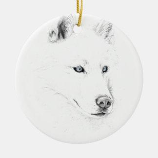 Saber A Siberian Husky Drawing Art Blue Eyes Round Ceramic Decoration