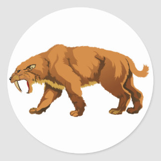 Saber-toothed Cat Classic Round Sticker