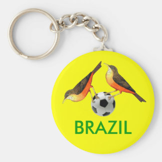 Sabia with ball Brasil futebol lovers gifts Basic Round Button Key Ring