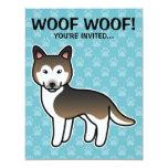Sable Cartoon Siberian Husky 11 Cm X 14 Cm Invitation Card