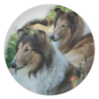 Sable Rough Collie Art Plate