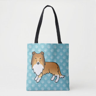 Sable Rough Collie Cartoon Dog Drawing Tote Bag