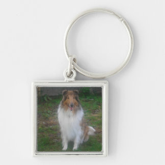 Sable Rough Collie Silver-Colored Square Key Ring