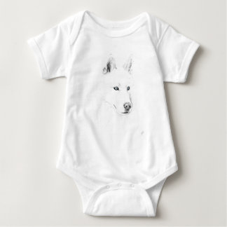Sabre A Siberian Husky Drawing Art Blue Eyes Baby Bodysuit