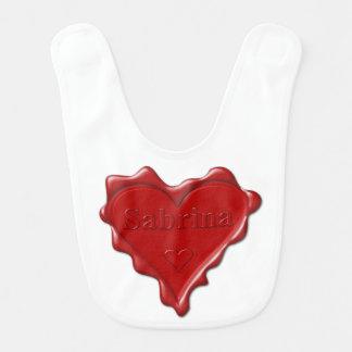 Sabrina. Red heart wax seal with name Sabrina Bib