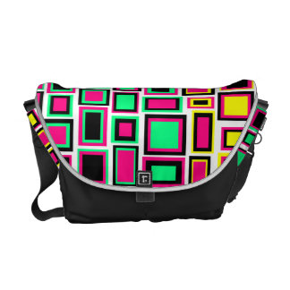 Sac Messenger Battles of color abstract square Courier Bags