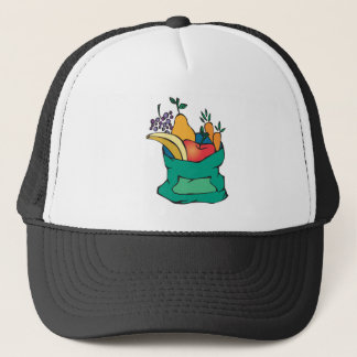 sack of fresh fruit trucker hat
