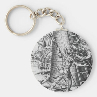 Sack of Rome by Maerten van Heemskerck Basic Round Button Key Ring