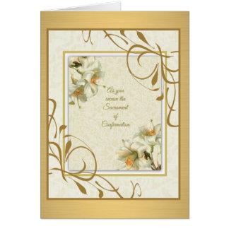 Sacrament of Confirmation Lilies Gold decor Card