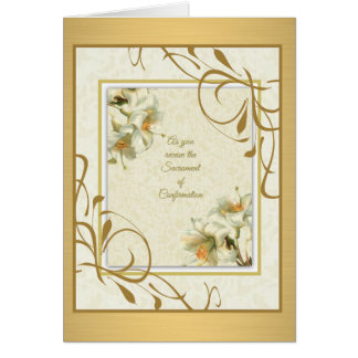 Sacrament of Confirmation Lilies Gold decor Greeting Card