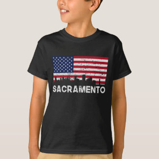 Sacramento CA American Flag Skyline Distressed T-Shirt