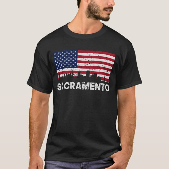 Sacramento CA American Flag Skyline Distressed T-Shirt