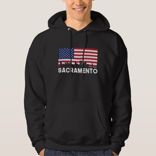 Sacramento CA American Flag Skyline Hoodie
