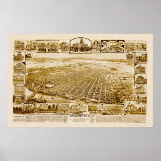 Sacramento, CA Panoramic Map - 1890's Poster