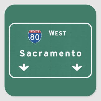 Sacramento California Interstate Highway Freeway : Square Sticker