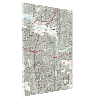 Sacramento California Map (1992) Canvas Print