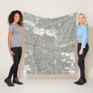 Sacramento California Map (1992) Fleece Blanket