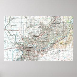 Sacramento California Map (1994) Poster