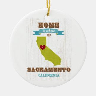 Sacramento, California Map – Home Is Where Ceramic Ornament