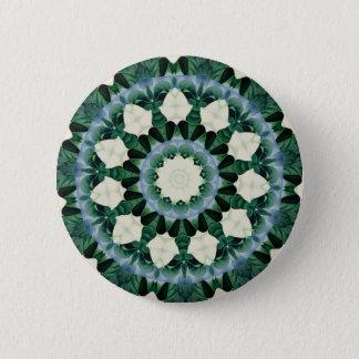Sacramento Green and Cerulean Blue Mandala 6 Cm Round Badge