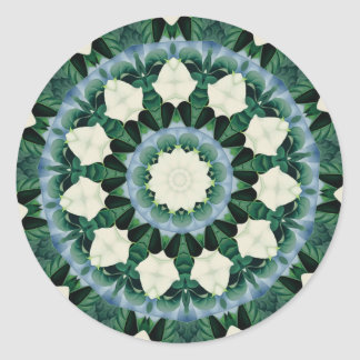 Sacramento Green and Cerulean Blue Mandala Classic Round Sticker