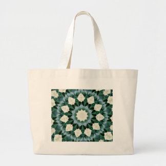 Sacramento Green and Cerulean Blue Mandala Large Tote Bag