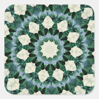 Sacramento Green and Cerulean Blue Mandala Square Sticker