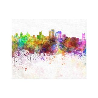 Sacramento skyline in watercolor background canvas print