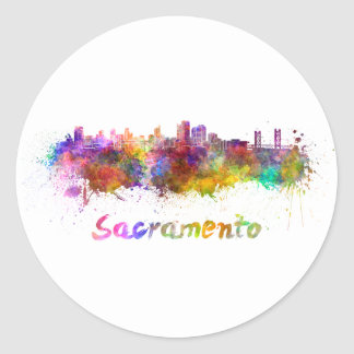 Sacramento skyline in watercolor classic round sticker