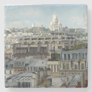 Sacre Coeur across Paris Rooftops Stone Beverage Coaster