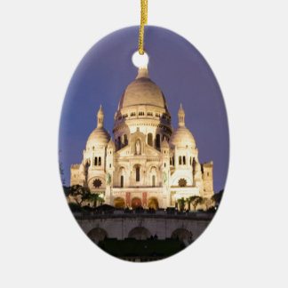 Sacre Coeur at night Ceramic Oval Decoration