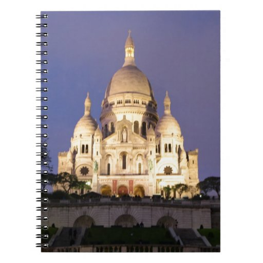 Sacre Coeur at night Spiral Notebooks