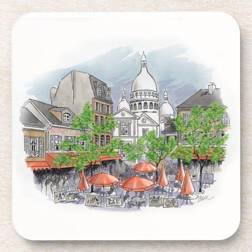 Sacre Coeur cork coaster set