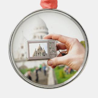 Sacre-Coeur in Paris Silver-Colored Round Decoration