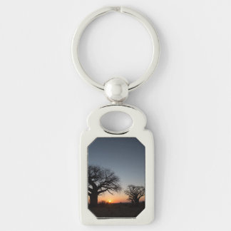 Sacred Baobabs Silver-Colored Rectangle Key Ring
