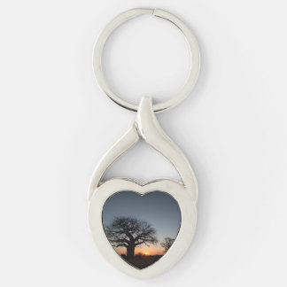 Sacred Baobabs Silver-Colored Twisted Heart Key Ring