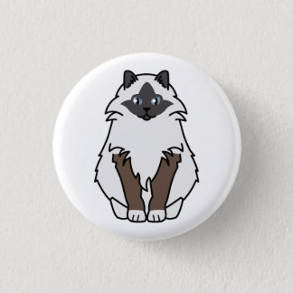 Sacred Birman Cat Cartoon 3 Cm Round Badge