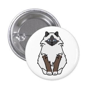 Sacred Birman Cat Cartoon 3 Cm Round Badge