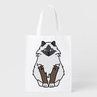 Sacred Birman Cat Cartoon Reusable Grocery Bag