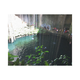Sacred Blue Cenote, Ik Kil, Mexico Canvas