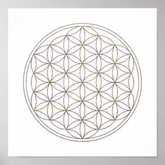 Sacred Geometry Flower Of Life (V-Aubergine) Poster