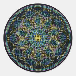 Sacred Geometry Mandala: Sincerity - Hand Drawn Round Sticker