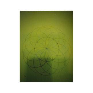 Sacred geometry sphere rustic green wood poster