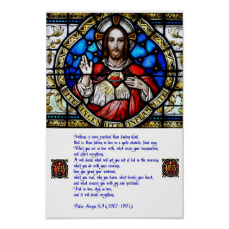 Sacred Heart and Arrupe Prayer Poster